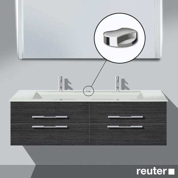 Burgbad Bel Doppelwaschtisch mit Waschtischunterschrank mit 4 Auszügen Front hacienda schwarz/Korpus hacienda schwarz/Waschtisch weiß