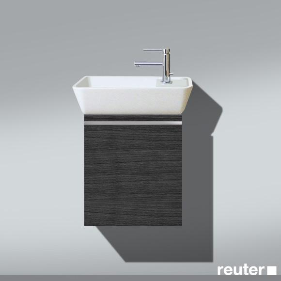 Burgbad Bel Handwaschbecken mit Waschtischunterschrank und 1 Tür Front hacienda schwarz/Korpus hacienda schwarz/Waschtisch weiß