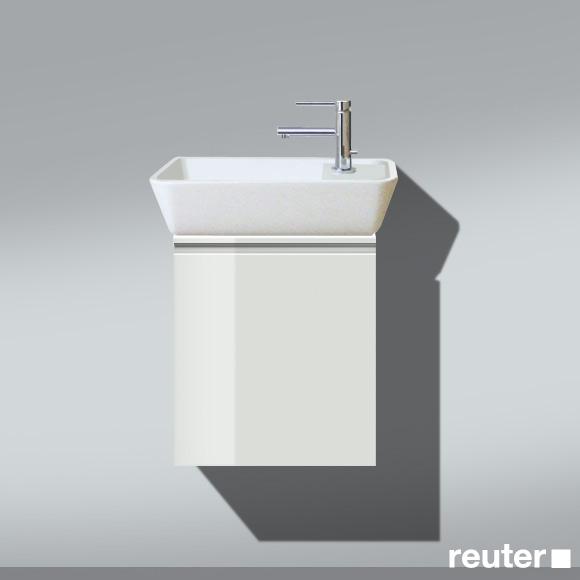 Burgbad Bel Handwaschbecken mit Waschtischunterschrank und 1 Tür Front weiß hochgl./Korpus weiß hochgl./Waschtisch weiß