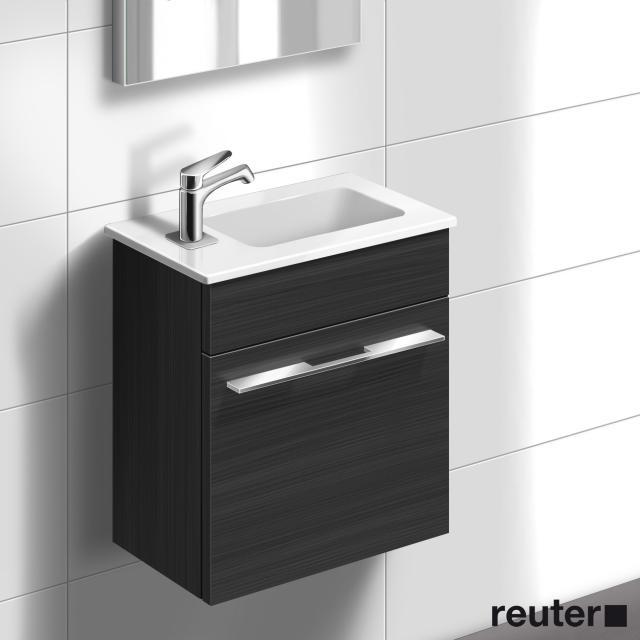 Burgbad Bel Handwaschbecken mit Waschtischunterschrank mit 1 Tür Front hacienda schw. Dekor/Korpus hacienda schw. Dekor/Waschtisch weiß