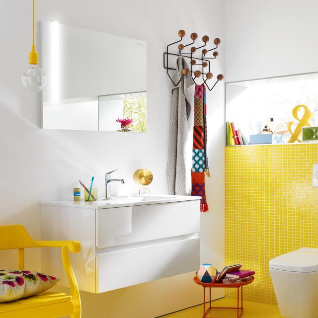 Burgbad Bel Möbel-Set mit Waschtisch, Waschtischunterschrank und LED Leuchtspiegel