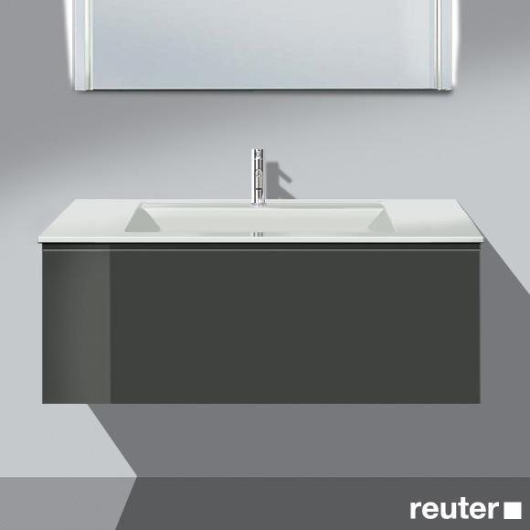 Burgbad Bel Waschtisch mit Waschtischunterschrank mit 1 Auszug Front dunkelgrau hochgl./Korpus dunkelgrau hochgl./Waschtisch weiß