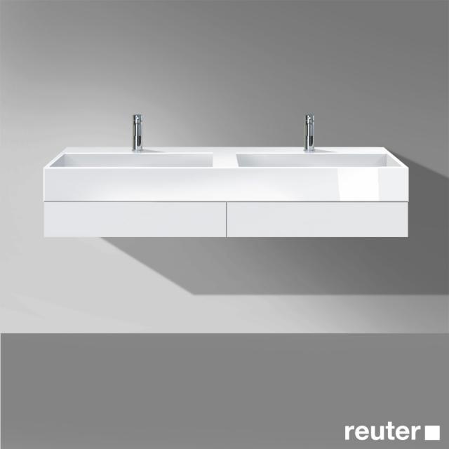 Burgbad Crono Doppelwaschtisch mit Waschtischkonsole mit 2 Schubladen Front weiß matt/Korpus weiß matt/Waschtisch weiß