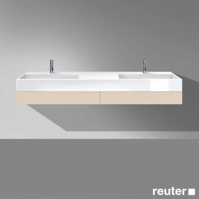 Burgbad Crono Doppelwaschtisch mit Waschtischkonsole mit 2 Schubladen Front sand matt / Korpus sand matt/Waschtisch weiß