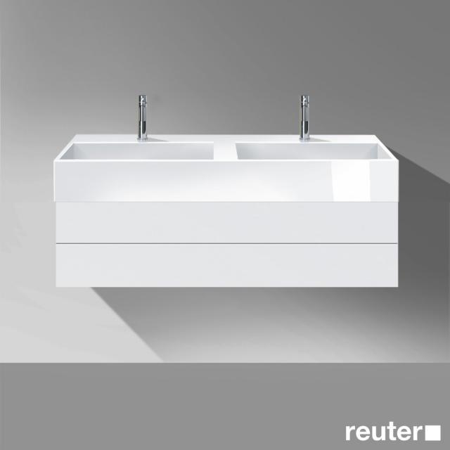 Burgbad Crono Waschtischunterschrank mit Doppelwaschtisch und 1 Auszug Front weiß matt / Korpus weiß matt / Waschtisch weiß