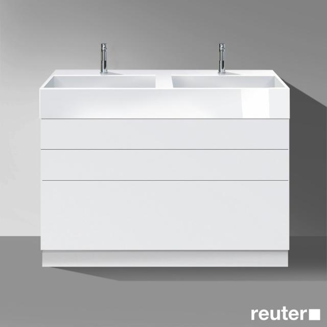 Burgbad Crono Doppelwaschtisch mit Waschtischunterschrank mit 3 Auszügen Front weiß matt/Korpus weiß matt/Waschtisch weiß