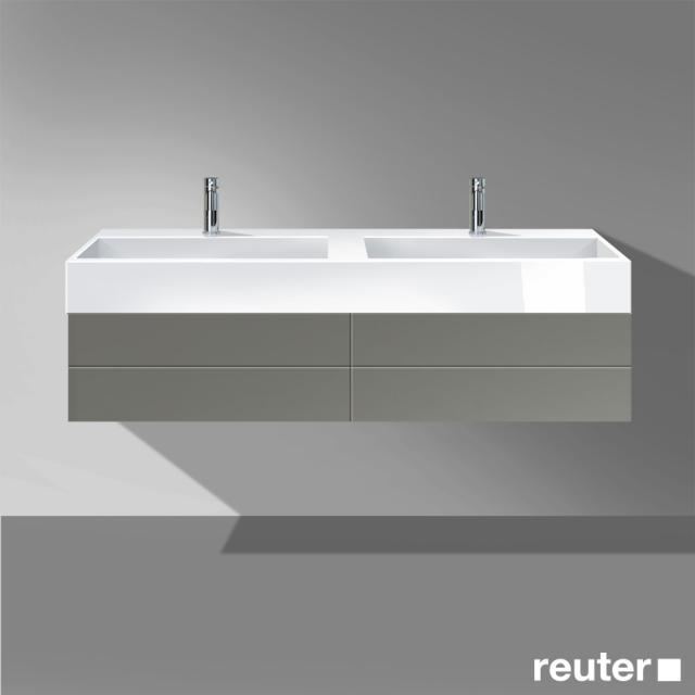 Burgbad Crono Doppelwaschtisch mit Waschtischunterschrank mit 2 Auszügen Front grau matt / Korpus grau matt / Waschtisch weiß