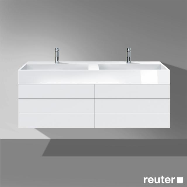 Burgbad Crono Doppelwaschtisch mit Waschtischunterschrank mit 4 Auszügen Front weiß matt/Korpus weiß matt/Waschtisch weiß