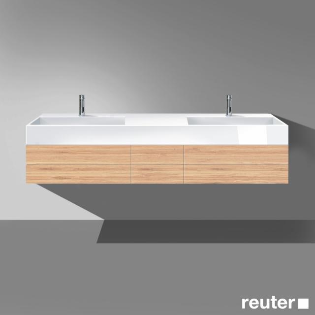 Burgbad Crono Waschtischunterschrank mit Doppelwaschtisch, 2 Auszügen und 2 Schubladen Front bambus / Korpus bambus / Waschtisch weiß