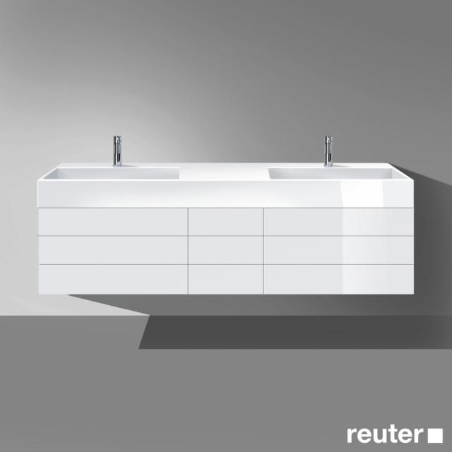 Burgbad Crono Doppelwaschtisch mit Waschtischunterschrank mit 7 Auszügen Front weiß hochglanz/Korpus weiß hochglanz/Waschtisch weiß