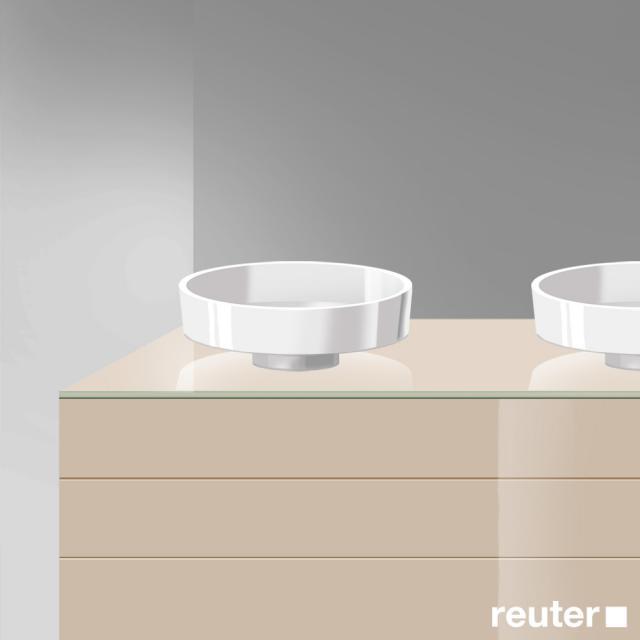 Burgbad Crono Waschtischplatte mit 2 Siphonbohrungen sand hochglanz