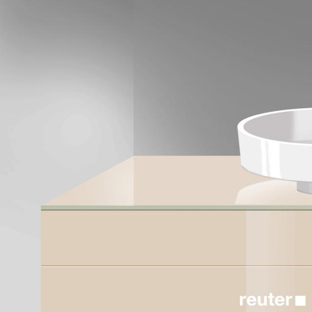 Burgbad Crono Waschtischplatte mit symmetrischer Siphonbohrung sand hochglanz