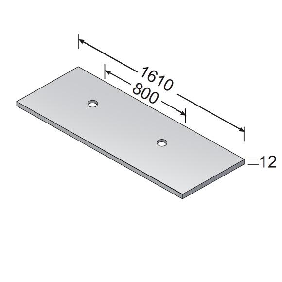 Burgbad Crono Waschtischplatte mit 2 Siphonbohrungen weiß hochglanz