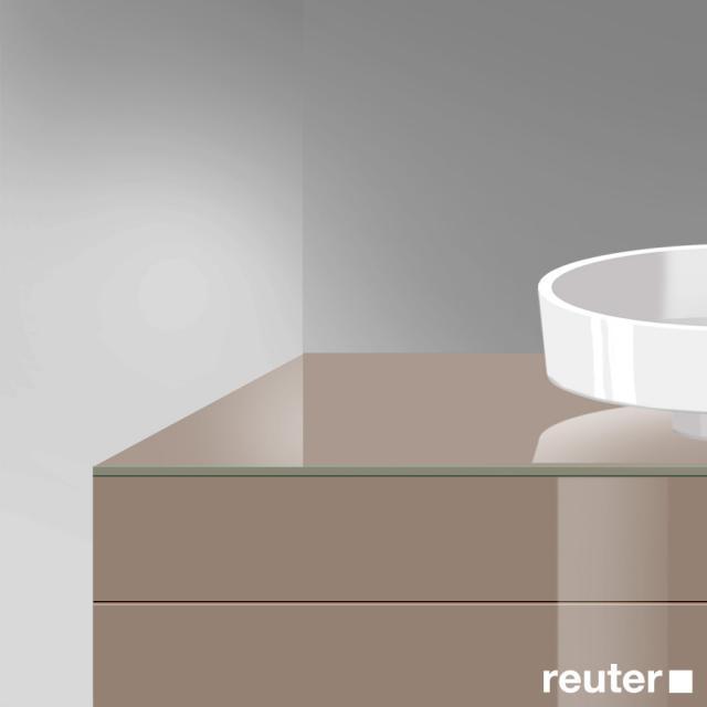 Burgbad Crono Waschtischplatte mit symmetrischer Siphonbohrung schilf hochglanz