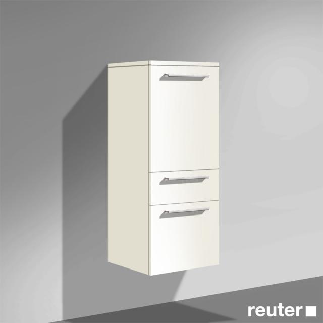 Burgbad Crono halbhoher Schrank, 1 Tür, 1 Auszug Front weiß matt/Korpus weiß matt