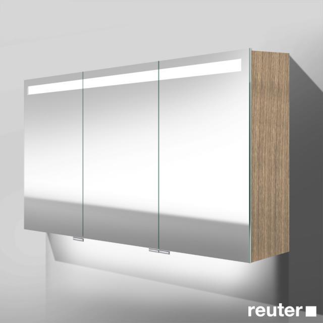 Burgbad Crono Spiegelschrank mit LED-Beleuchtung mit 3 Türen eiche hellgrau, mit Waschtischbeleuchtung