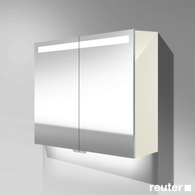 Burgbad Crono Spiegelschrank mit LED-Beleuchtung mit 2 Türen weiß hochglanz, mit Waschtischbeleuchtung