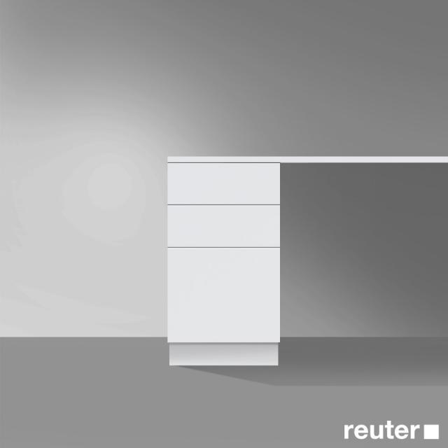 Burgbad Crono stehender Unterschrank, 3 Auszüge Front weiß matt/Korpus weiß matt