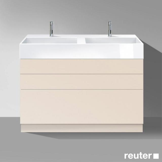 Burgbad Crono stehender Waschtischunterschrank für 2 Aufsatzwaschtische mit 3 Auszügen Front sand matt / Korpus sand matt