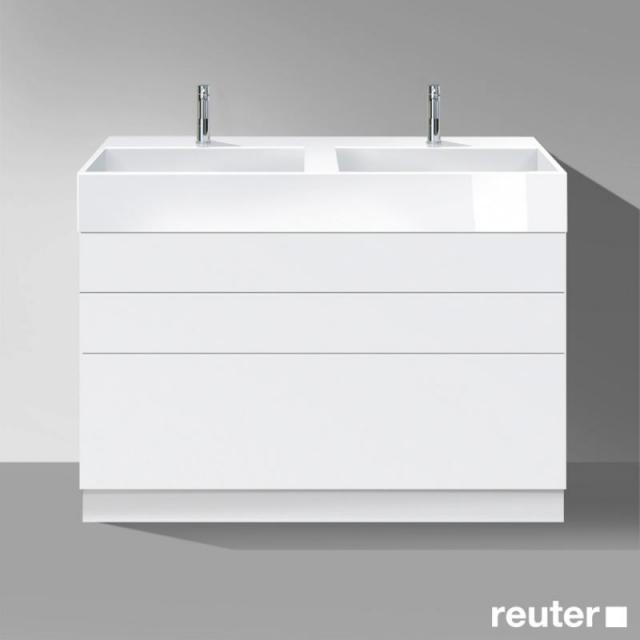 Burgbad Crono stehender Waschtischunterschrank für 2 Aufsatzwaschtische mit 3 Auszügen Front weiß matt/Korpus weiß matt