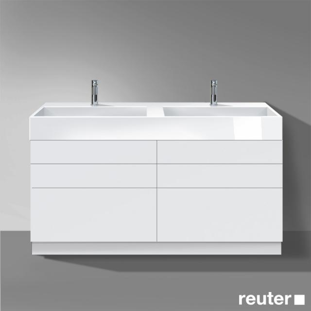 Burgbad Crono stehender Waschtischunterschrank für 2 Aufsatzwaschtische mit 6 Auszügen Front weiß matt/Korpus weiß matt