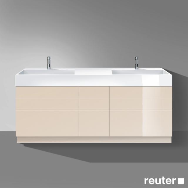 Burgbad Crono stehender Waschtischunterschrank für 2 Aufsatzwaschtische mit 6 Auszügen und 3 Schubladen Front sand hochglanz / Korpus sand hochglanz