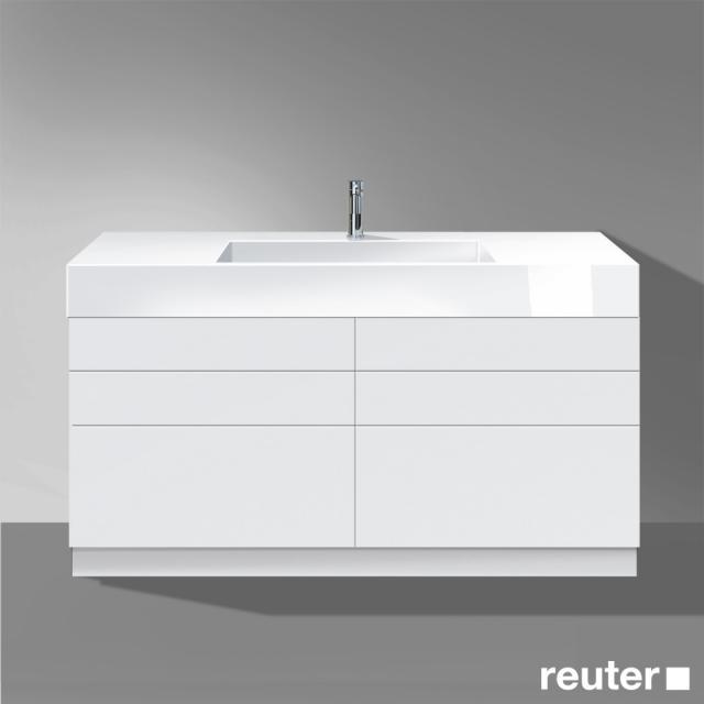 Burgbad Crono stehender Waschtischunterschrank für Aufsatzwaschtisch mit 6 Auszügen Front weiß matt/Korpus weiß matt