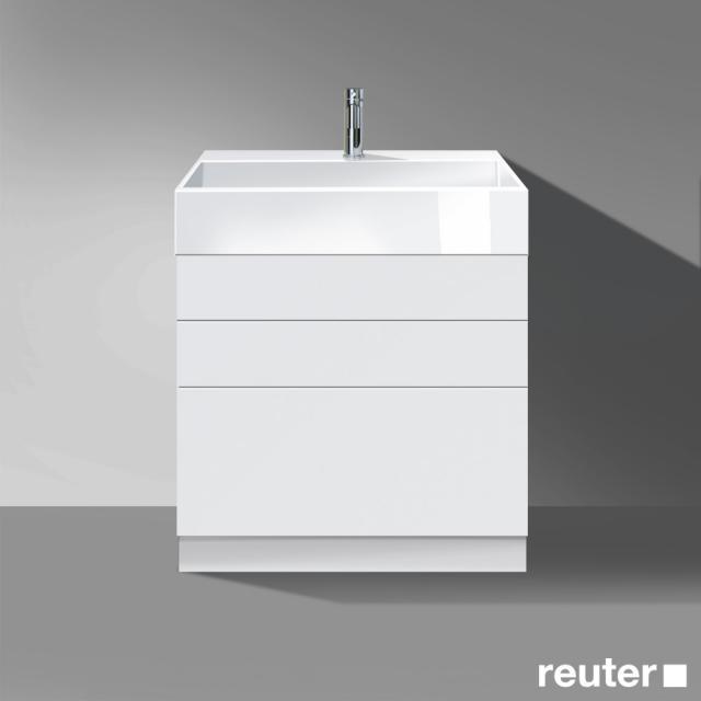 Burgbad Crono stehender Waschtischunterschrank für Aufsatzwaschtisch mit 3 Auszügen Front weiß matt/Korpus weiß matt