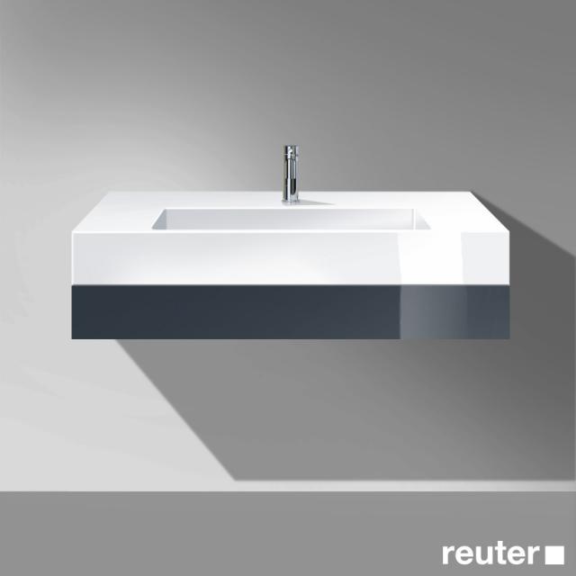Burgbad Crono Waschtisch mit Waschtischkonsole mit 1 Schublade Front anthrazit hochglanz / Korpus anthrazit hochglanz/Waschtisch weiß