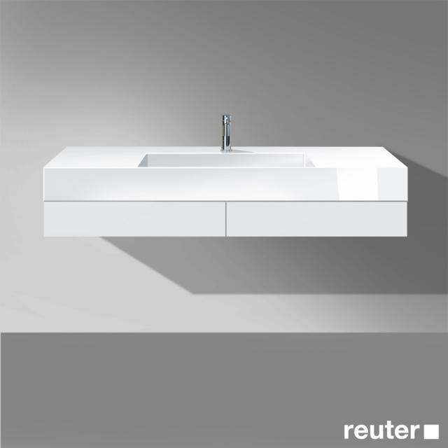 Burgbad Crono Waschtisch mit Waschtischkonsole mit 2 Schubladen Front weiß matt/Korpus weiß matt/Waschtisch weiß