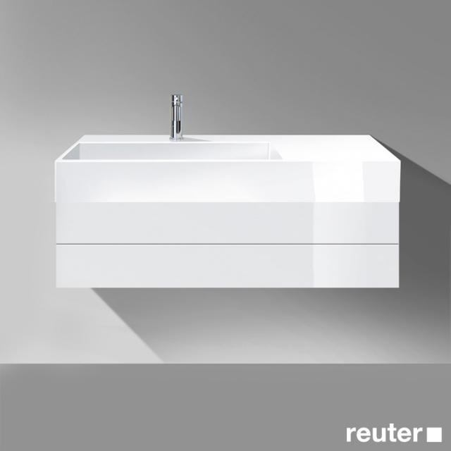 Burgbad Crono Waschtisch mit Waschtischunterschrank mit 1 Auszug Front weiß hochglanz / Korpus weiß hochglanz / Waschtisch weiß