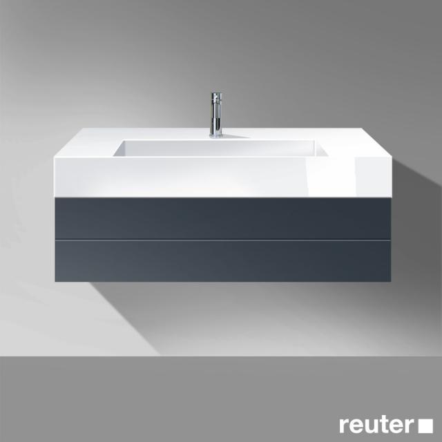 Burgbad Crono Waschtisch mit Waschtischunterschrank mit 1 Auszug Front anthrazit matt / Korpus anthrazit matt / Waschtisch weiß