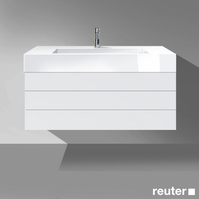 Burgbad Crono Waschtisch mit Waschtischunterschrank mit 2 Auszügen Front weiß matt/Korpus weiß matt/Waschtisch weiß