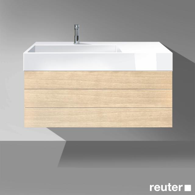 Burgbad Crono Waschtisch mit Waschtischunterschrank mit 2 Auszügen Front eiche fineline hell/K: eiche fineline hell/Waschtisch weiß