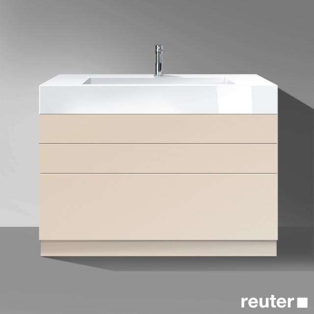 Burgbad Crono Waschtisch mit Waschtischunterschrank mit 3 Auszügen Front sand matt / Korpus sand matt/Waschtisch weiß