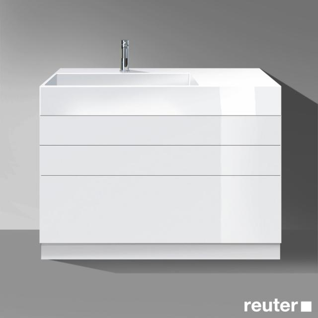 Burgbad Crono Waschtisch mit Waschtischunterschrank mit 2 Auszügen Front weiß hochglanz/Korpus weiß hochglanz/Waschtisch weiß