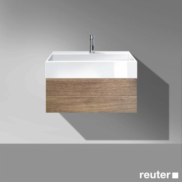 Burgbad Crono Waschtisch mit Waschtischunterschrank mit 1 Auszug Front nussbaum natur / Korpus nussbaum natur/Waschtisch weiß