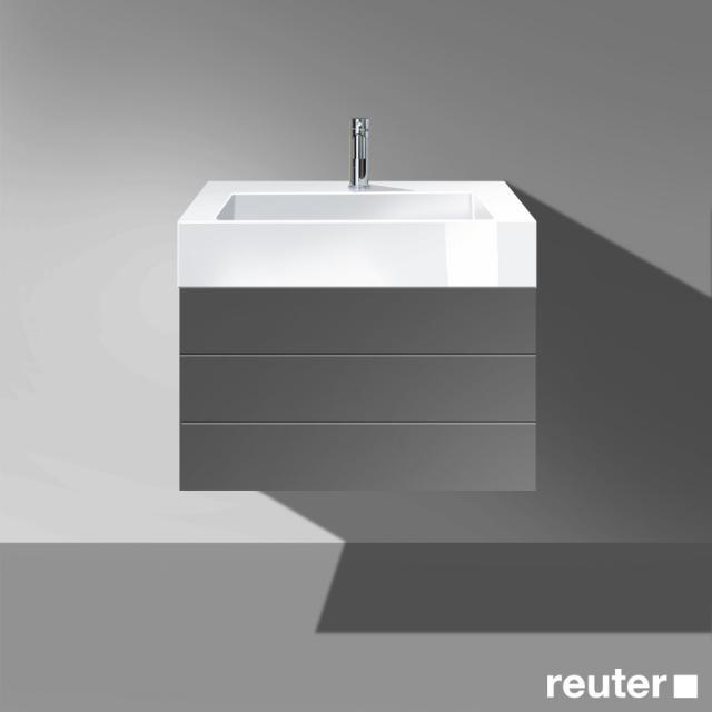 Burgbad Crono Waschtisch mit Waschtischunterschrank mit 2 Auszügen Front dunkelgrau matt / Korpus dunkelgrau matt/Waschtisch weiß