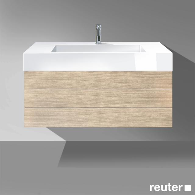 Burgbad Crono Waschtisch mit Waschtischunterschrank mit 2 Auszügen Front eiche natur / Korpus eiche natur/Waschtisch weiß