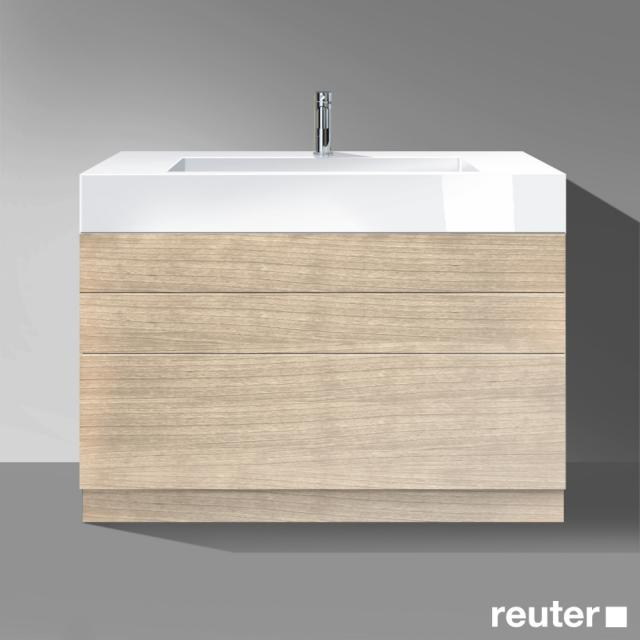 Burgbad Crono Waschtisch mit Waschtischunterschrank mit 3 Auszügen Front eiche natur / Korpus eiche natur