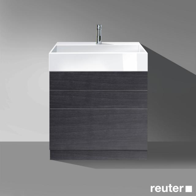 Burgbad Crono Waschtisch mit Waschtischunterschrank mit 3 Auszügen Front eiche schwarz / Korpus eiche schwarz/Waschtisch weiß