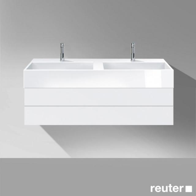 Burgbad Crono Waschtischunterschrank für 2 Aufsatzwaschtische mit 1 Auszug Front weiß matt/Korpus weiß matt