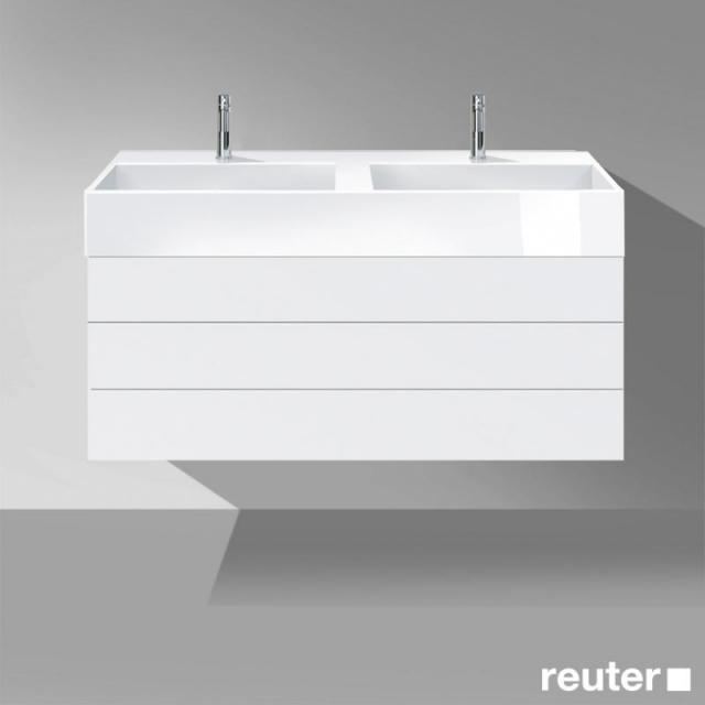 Burgbad Crono Waschtischunterschrank für 2 Aufsatzwaschtische mit 2 Auszügen Front weiß matt/Korpus weiß matt