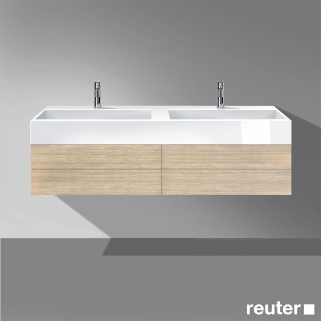 Burgbad Crono Waschtischunterschrank für 2 Aufsatzwaschtische mit 2 Auszügen Front eiche natur / Korpus eiche natur