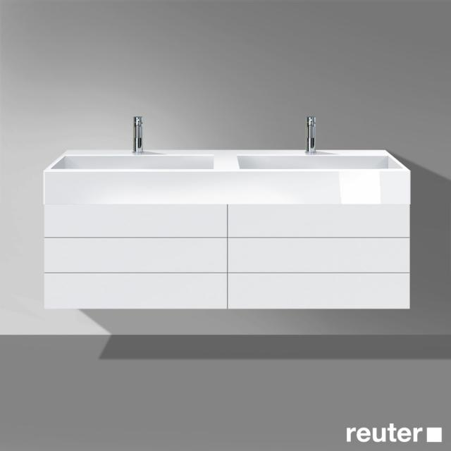 Burgbad Crono Waschtischunterschrank für 2 Aufsatzwaschtische mit 4 Auszügen Front weiß matt/Korpus weiß matt