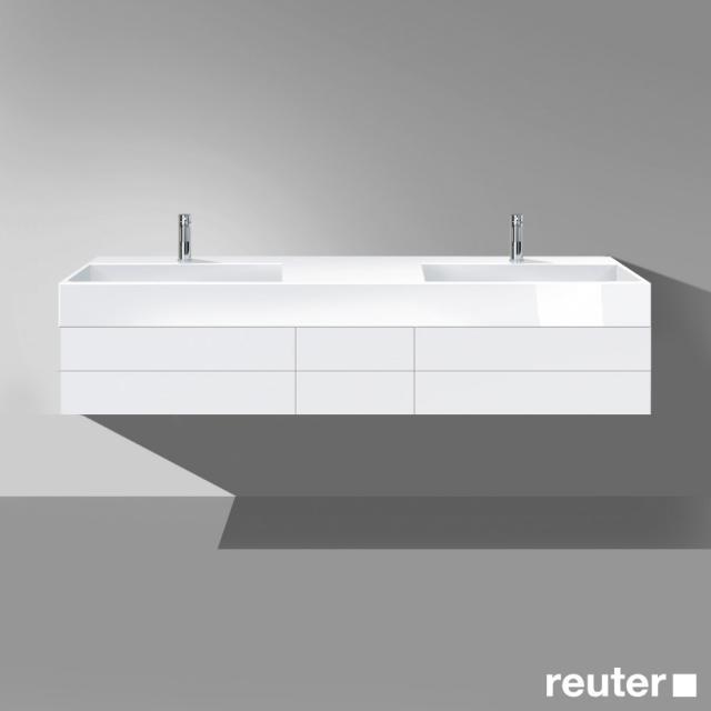 Burgbad Crono Waschtischunterschrank für 2 Aufsatzwaschtische Front weiß matt / Korpus weiß matt