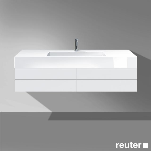 Burgbad Crono Waschtischunterschrank für Aufsatzwaschtisch mit 2 Auszügen Front weiß matt/Korpus weiß matt