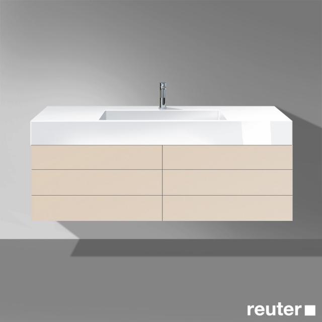 Burgbad Crono Waschtischunterschrank für Aufsatzwaschtisch mit 4 Auszügen Front sand matt / Korpus sand matt