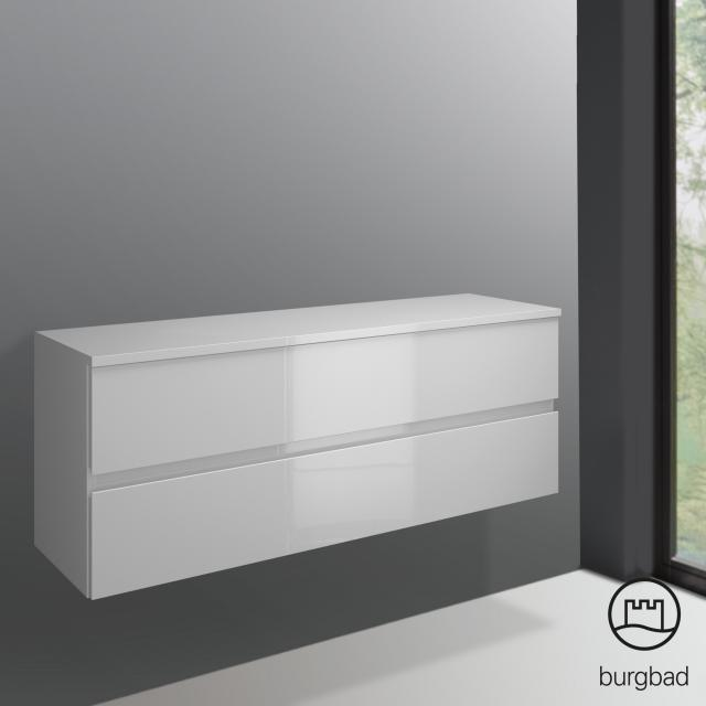 Burgbad Cube Unterschrank mit 2 Auszügen Front weiß hochglanz / Korpus weiß hochglanz
