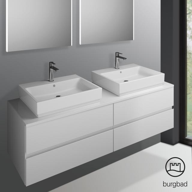 Burgbad Cube Waschtischunterschrank mit 4 Auszügen Front weiß hochglanz / Korpus weiß hochglanz